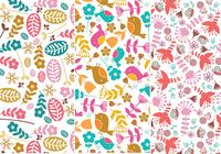 Flower and Bird Seamless Patterns