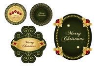 Green & Gold Christmas Label Brushes