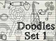 Slumpmässiga Doodles Set 1