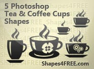 5 Beautiful Coffee & Tea Cup Photoshop formas personalizadas para projetos incríveis