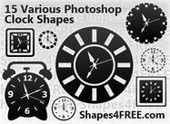 15 Photoshop Custom Shapes - Cute Clock Faces (CSH)