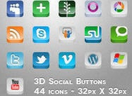 3D Button PSD Sociales