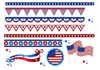 4th of July Flags and Borders Brushes
