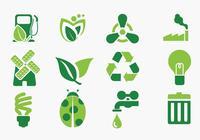 Verde Eco Iconos Pinceles