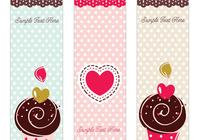 Söt retro cupcake photoshop banner set