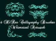 6 Hi Res Calligraphy Elements Photoshop Brushes PK1