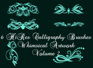 6 Hi Res Calligraphy Elements Photoshop Brushes PK2