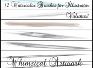 12 Watercolor Art Brushes Vol2