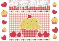 Grattis på födelsedagen Cupcake Photoshop Wallpaper and Brush Pack