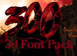 300 The movie Inspired 3d Font - 14.7KB