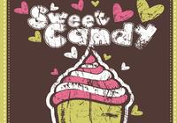 Grungy Sweet Candy Cupcake Wallpaper und Pinsel Pack