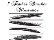7 Illustrator Brushes plumas