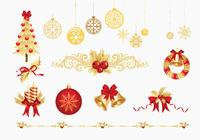 Golden Christmas Brush Elements Pack
