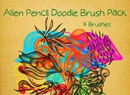 Alien Pencil Doodle Brush Pack