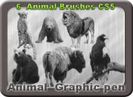 6 Animal Graphic Pen Brushes