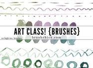 Lignes d'aquarelle de classe d'art
