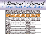 8 Vintage Lace Borders Brushes för Illustrator