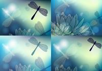 Blue Dragonfly Wallpaper and Brush Pack