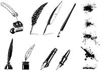 Vintage Ink Pen Brushes and Splatter Brush Pack