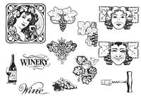 Vintage Grapes and Wine Brush Pack