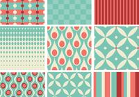 Teal och Coral Retro Pattern Pack