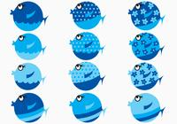 Blue Cartoon Fish Brushes Pack
