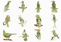 Green Birds Brushes Pack