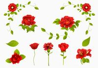Red Rose, Carnation och Flower Brush Pack