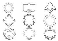 Pinceaux à cadre décoratif et paquet d'ornement