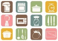 Ícones de escova de cozinha e cozinha