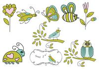 Hand-drawn-insect-flower-and-bird-brushes