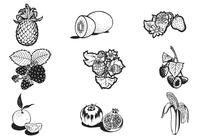 Hand Drawn Fruit Brushes Pack