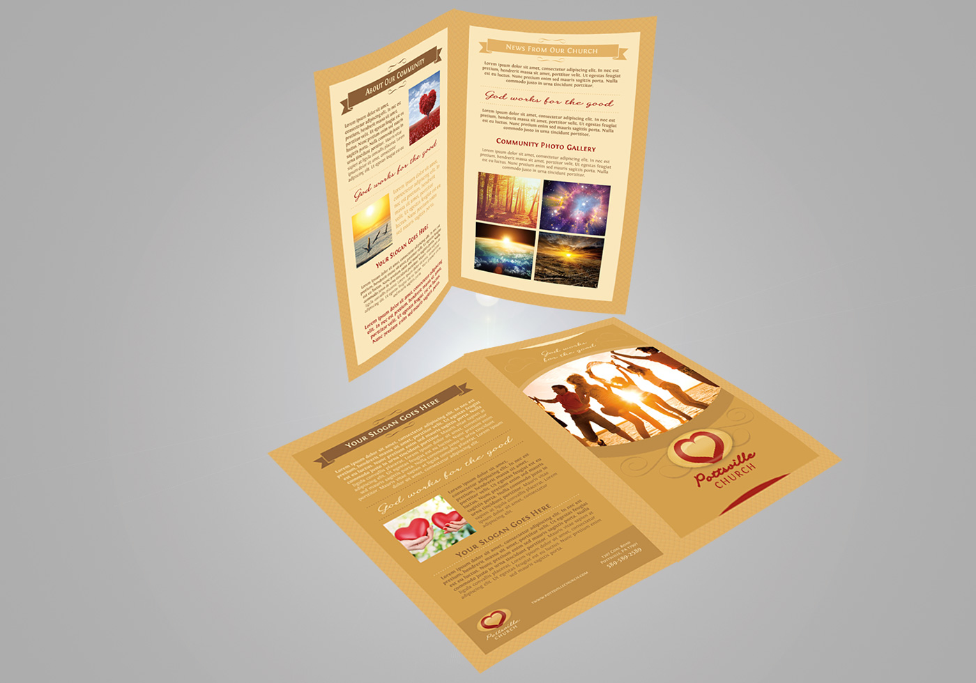 Golden Church Brochure Psd Template Free Photoshop Brushes At