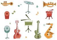Pacote de escovas de instrumentos musicais retros