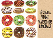 Yummy-handmade-donut-psd-watercolors