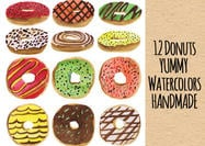 Yummy Handmade Donut PSD Watercolors