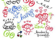 Happy Girly Girl Love Doodles Brush Set