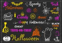 Kreide Drawn Halloween Pinsel und PSD Pack