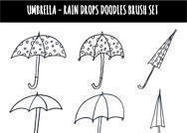 Umbrellas Rain Drops Doodles Brush Set