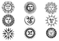 Hand Drawn Ancient Sun Pinceles Paquete