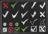Chalk Drawn Check Mark Pinsel und PSD Pack