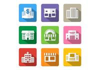 Icono de edificio de sombra larga PSD Pack