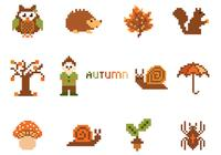 Pack d'éléments pixel autumn psd