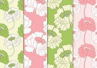 Seamless Pink och Green Floral Patterns
