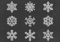 Pinceles de copo de nieve dibujados con tiza y paquete PSD