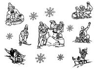 Hand Drawn Winter Family Sledding Brushes Pack