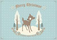 Retro Deer Christmas Card PSD