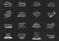 Chalk Drawn Weihnachten und Neujahr Label Brushes & PSD Pack