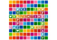 Colorful Crossword Saint Valentin Fond d'écran PSD