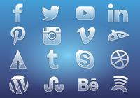 Glass Social Media Icons PSD
